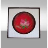 胡氏彩色艺术漆线雕5.5寸盘加框《寿桃》 国家非物质文化遗产