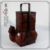 竹编篮提篮/竹编食盒/骆驼三层提篮/点心盒/非物质文化遗产/摆件